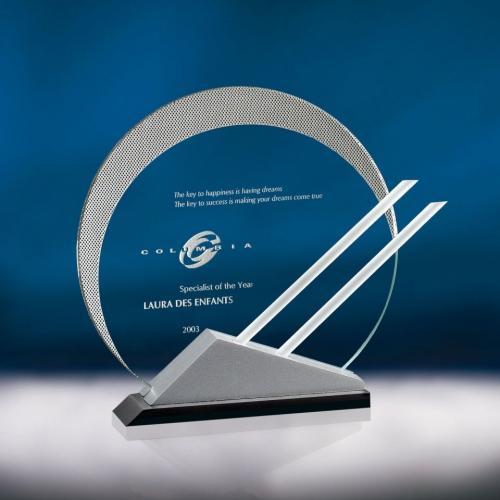 Eclipse Jade Glass Award on Triangle Base