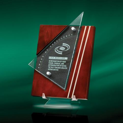Premiera Wood Plaque with Jade Glass & Leather Accent