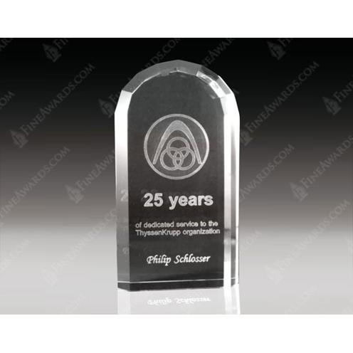 Clear Optical Crystal 3D Laser Arch Award with Beveled Sides