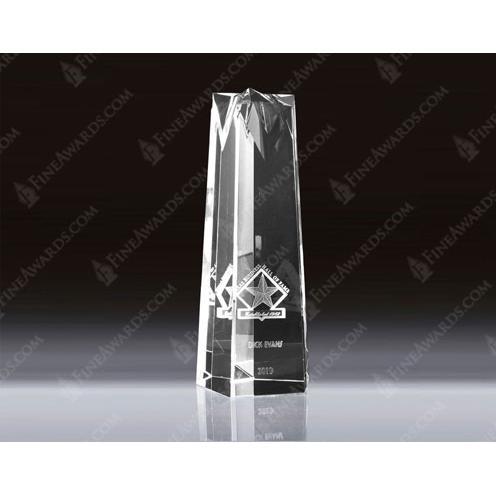Clear Optical Crystal 3D Star Tower