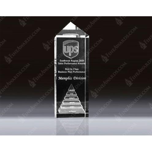 Clear Optical Crystal 3D Obelisk Award