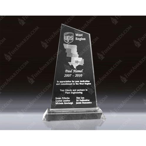 Clear Optical Crystal 3D Trapezoid Award