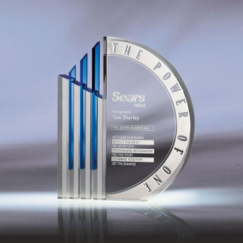 Clear Optical Crystal Koncept Award with Blue Accent