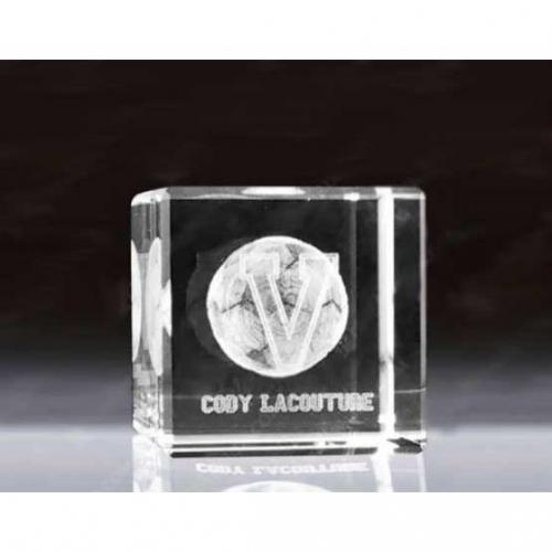 Clear Optical Crystal Flat 3D Cube