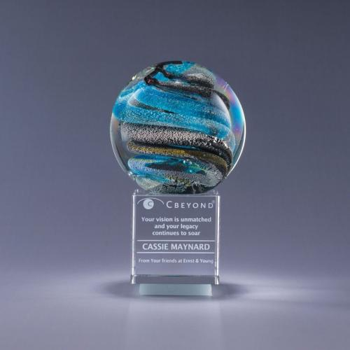 Art Glass Sphere Helix Award on Optical Crystal Base