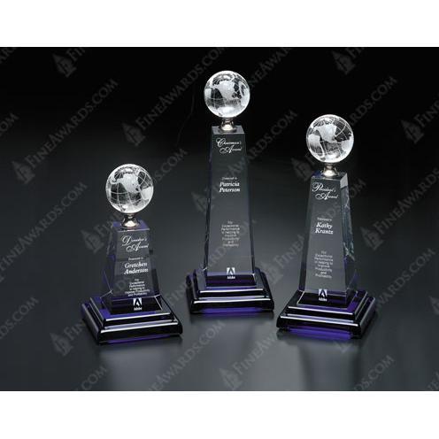 Horizon Global Crystal Award on Cobalt Blue Base