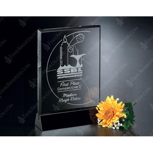Cavalcade Clear Optical Crystal Rectangle Award on Black Base
