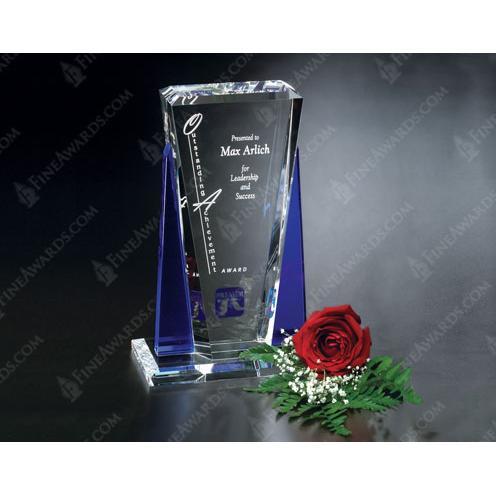 Clear & Blue Crystal Sentinel Award