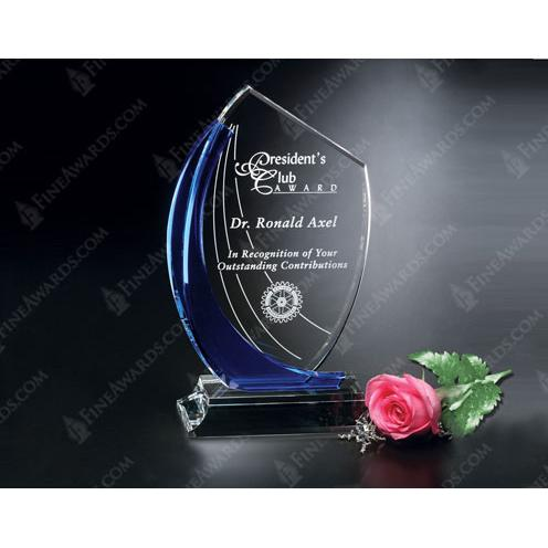Blue Shadow Clear Crystal Award with Blue Glass