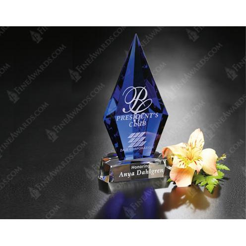 Azurite Blue Crystal Award with Clear Base