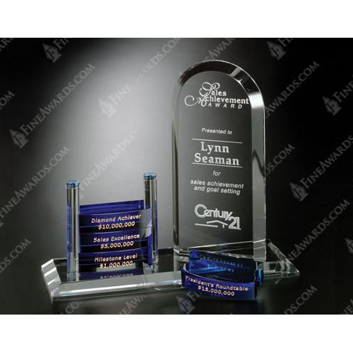 Clear & Blue Goal Setter Arch Crystal Trophy