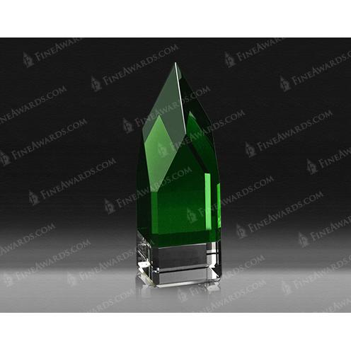 Monolith Green Optical Crystal Award with Clear Base