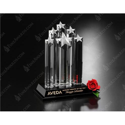 Starburst Clear Optical Crystal Stars on Clear Cylinders Award with Black Base