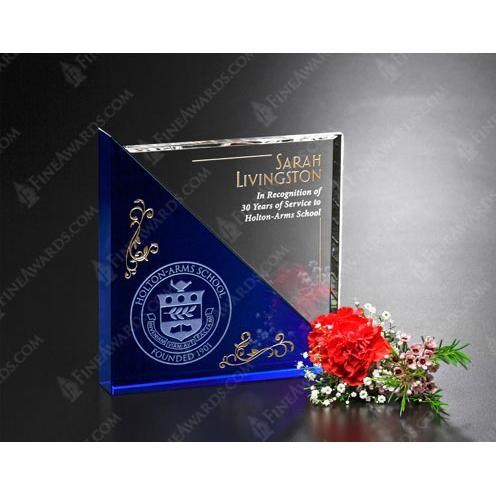Clear & Blue Optical Crystal Acclaim Award