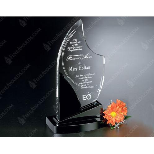 Panache Clear Optical Crystal Award on Black Stand