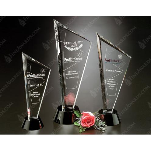 Clear Optical Crystal Invincible Award on Black Circle Base