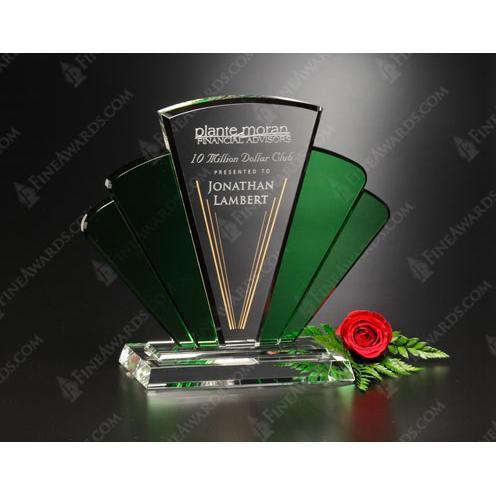 Phantasia Clear & Green Crystal Award