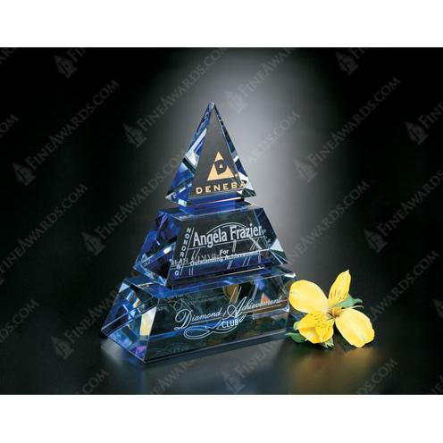 Accolade Blue Glass Pyramid Award