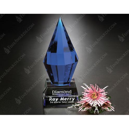 Azure Blue Crystal Diamond Award on Clear Base