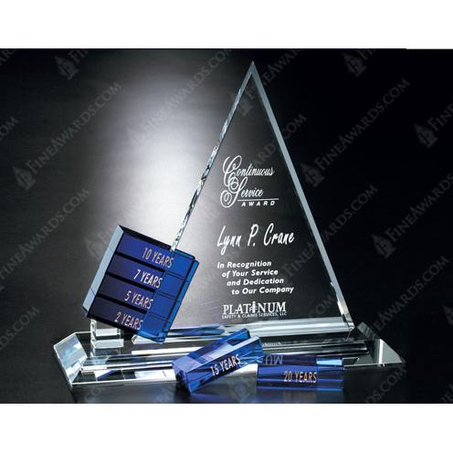 Clear & Blue Goal Setter Triangle Crystal Trophy