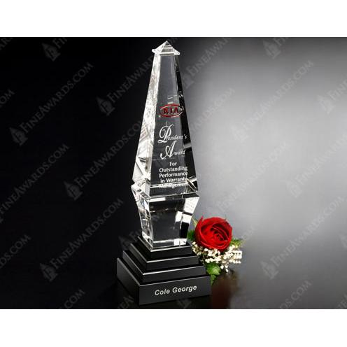 Clear Epitome Jade Glass Award on Black Base