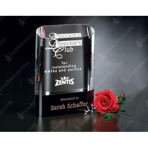Cosmo Oval Optical Crystal Award on Black Glass Base
