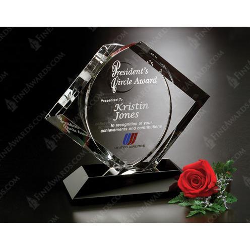 Clear Crystal CEO Award on Black Base