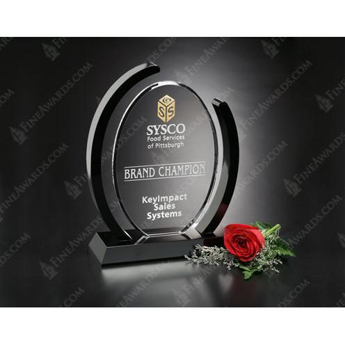 Clear Optical Crystal Callaway Award on Black Stand