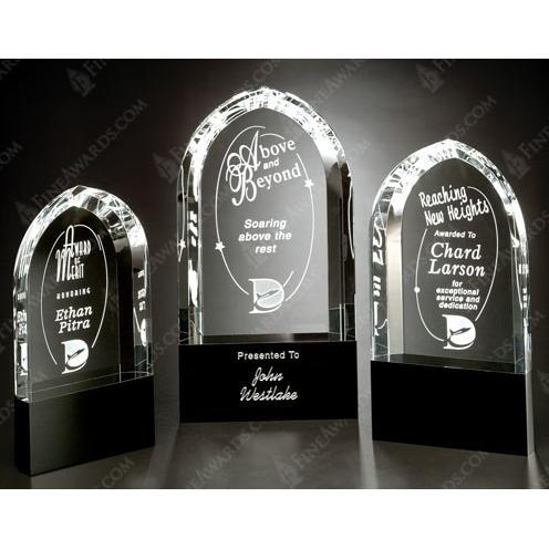 Cosmo Crystal Arch Award on Black Base