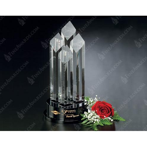 Clear Optical Crystal Diamond Tiara on Black Glass Base