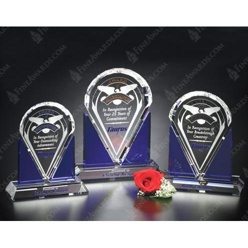 Clear & Blue Optical Crystal Distinction Award
