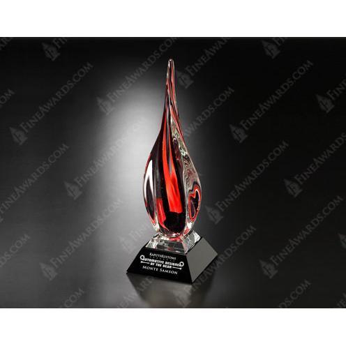 Imperial Art Glass Award on Black Base