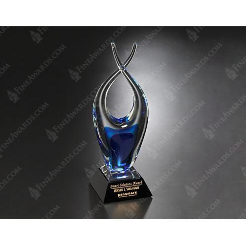 Liberty Art Glass Award on Black Base