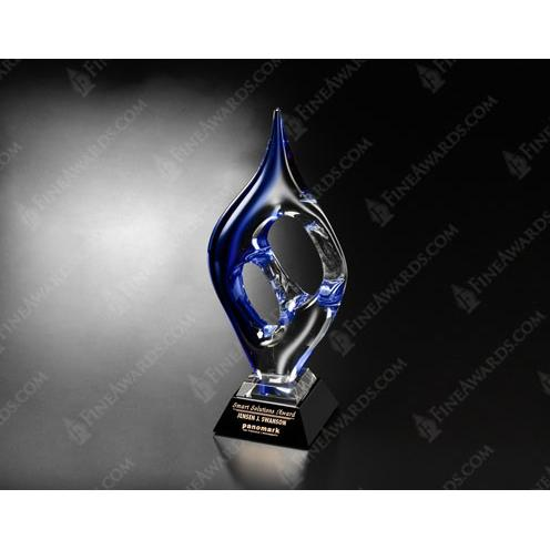 Geo Blue Art Glass Award on Black Base