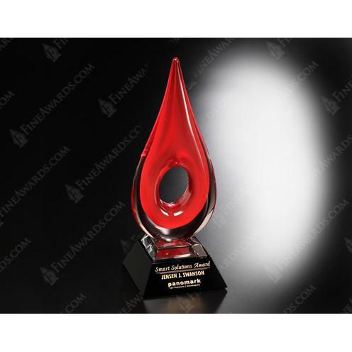 Red Teardrop Art Glass Award on Black Base