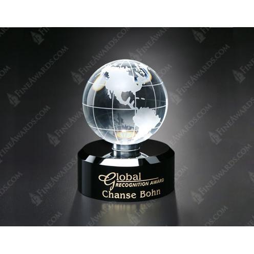 Awards in Motion Optical Crystal Globe on Black Base