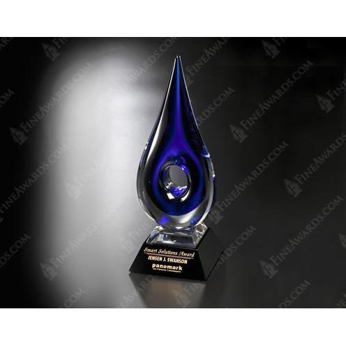 Blue Teardop Art Glass Award on Black Base