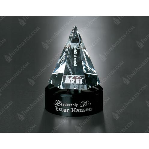 Awards in Motion Clear Optical Crystal Hexagon Award on Black Round Base