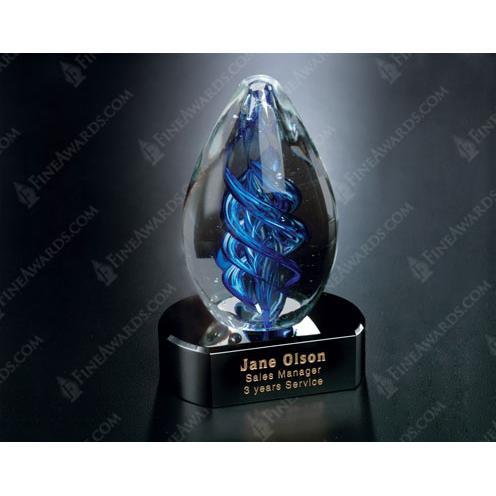 Blue Optical Crystal Swirl on Black Glass Base