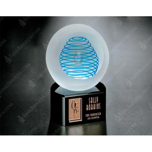 Blue Inspiration on Black Glass Base