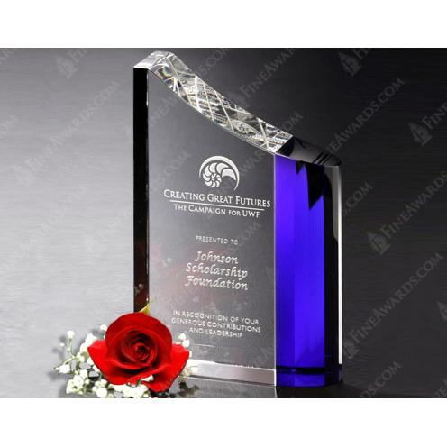 Faceted Wave Optical Crystal Award with Blue Highlight