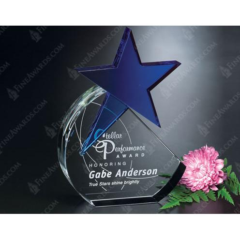 Cerulean Crystal Blue Star Award in Clear Geometric Shape