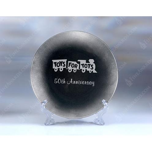 Round Glass Silver Leaf Plate