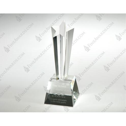 Clear Crystal New Star Tower Award on Base