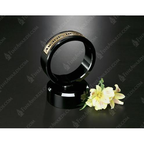 Awards in Motion Black Crystal Ring on Optical Crystal Base