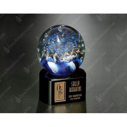 Celebration Crystal Sphere Globe on Black Glass Base