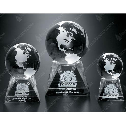 Triad Clear Optical Crystal Globe Award