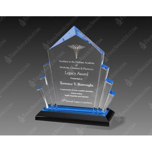 Blue Arrow Acrylic Award on Black Base