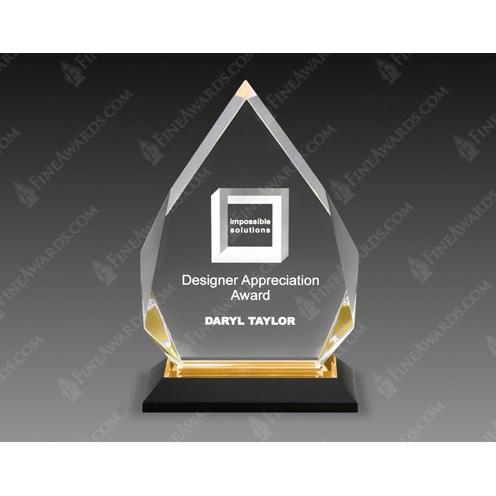 Gold Diamond Acrylic Award on Black Base