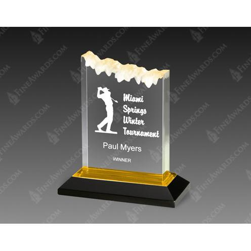 Gold Frosted Acrylic Award on Black Base